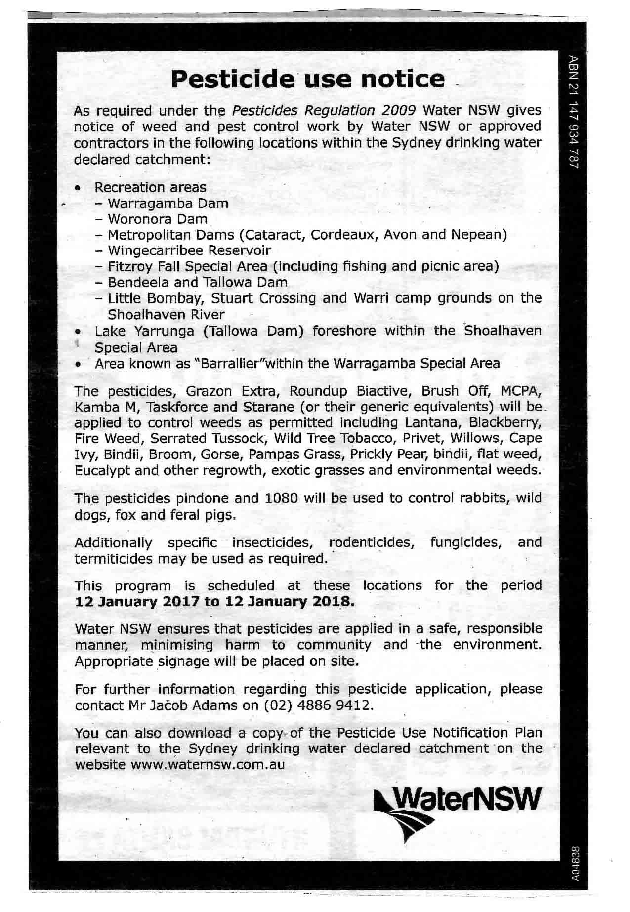 Water Board Pesticide Notice